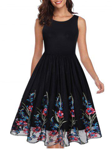 Floral Embroidered Sleeveless Party Dress