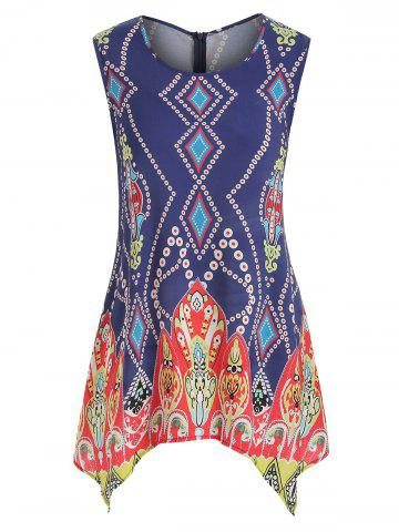 Plus Size Ethnic Print Swing Tank Top