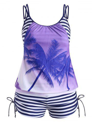 Cinched Stripes Palm Tree Plus Size Tankini Swimsuit