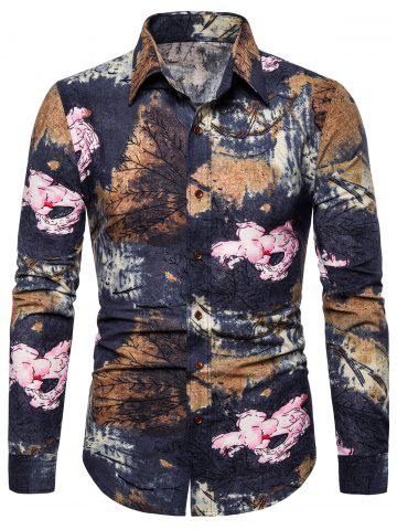 Floral Plant Print Long Sleeves Shirt
