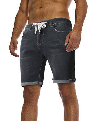 Solid Color Zipper Fly Drawstring Jean Shorts