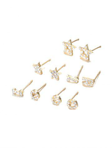 5Pairs Letter Star Rhinestone Earrings Set