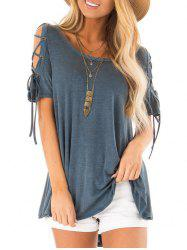 Lace Up Short Sleeve High Low T-shirt -