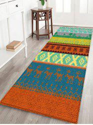 Ethnic Geometric Deer Print Design Floor Mat -