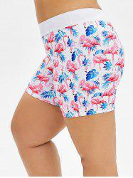 Short de bain taille plus imprimé Flamingo Leaves - Blanc L