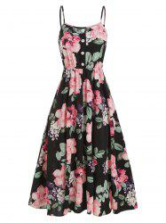 Flower Leaf Print A Line Spaghetti Strap Dress -