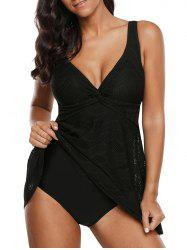 Perforated Twisted Front Skirted One-piece Swimsuit -