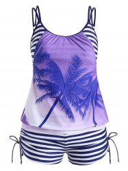 Cinched Stripes Palm Tree Plus Size Tankini Swimsuit -