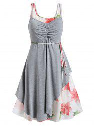 Plus Size Floral Dress and Ripped Asymmetrical Cami Top Set -