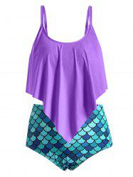 Plus Size Ruffled Mermaid Tankini Swimwear -