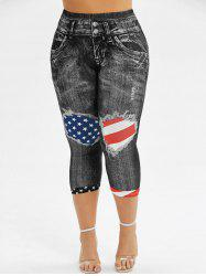 Skinny American Flag 3D Capri Plus Size Jeggings -