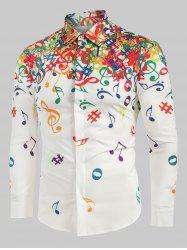 Musical Note Pattern Long Sleeves Shirt -