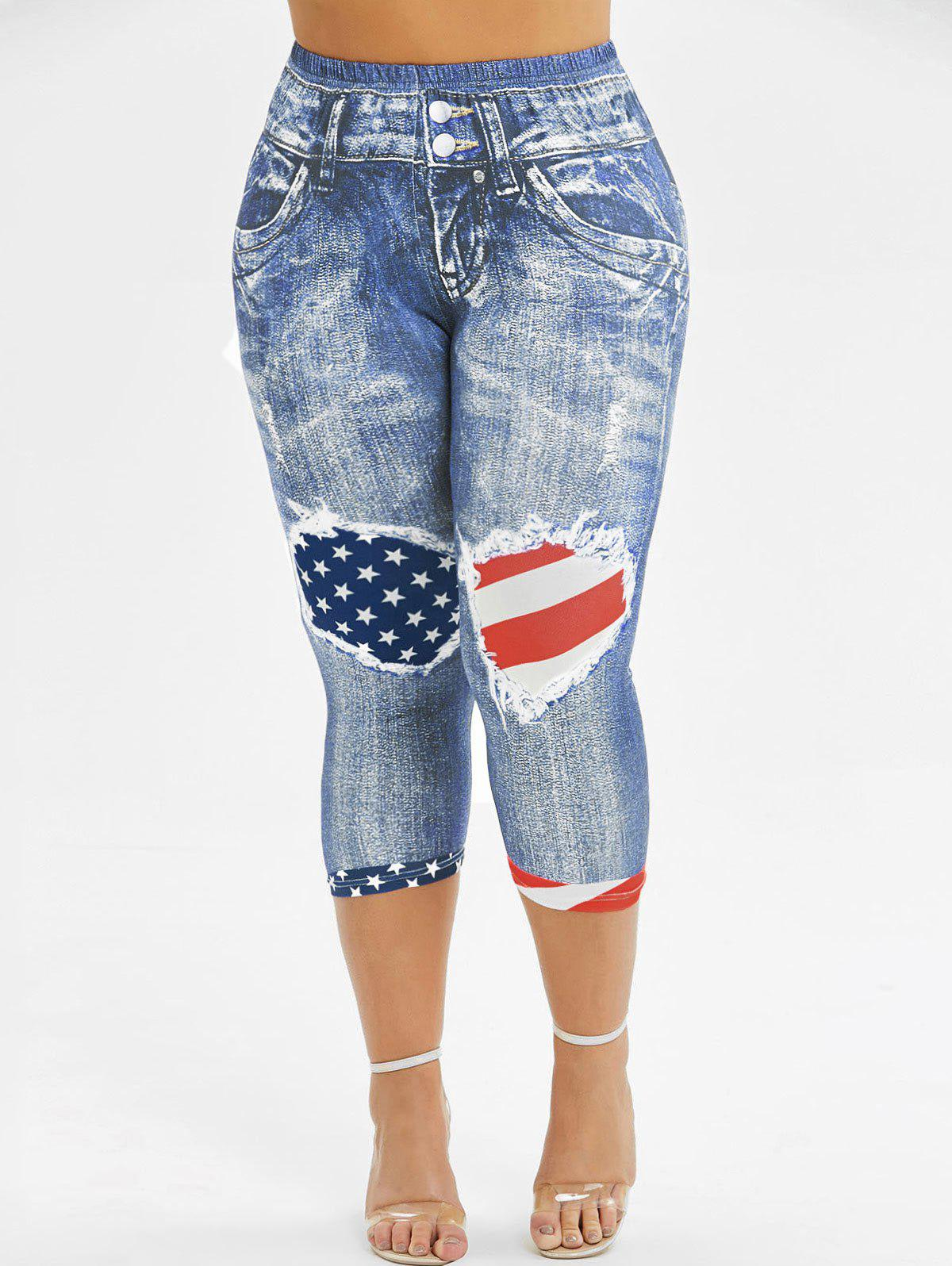 Skinny American Flag 3D Capri Plus Size Jeggings фото