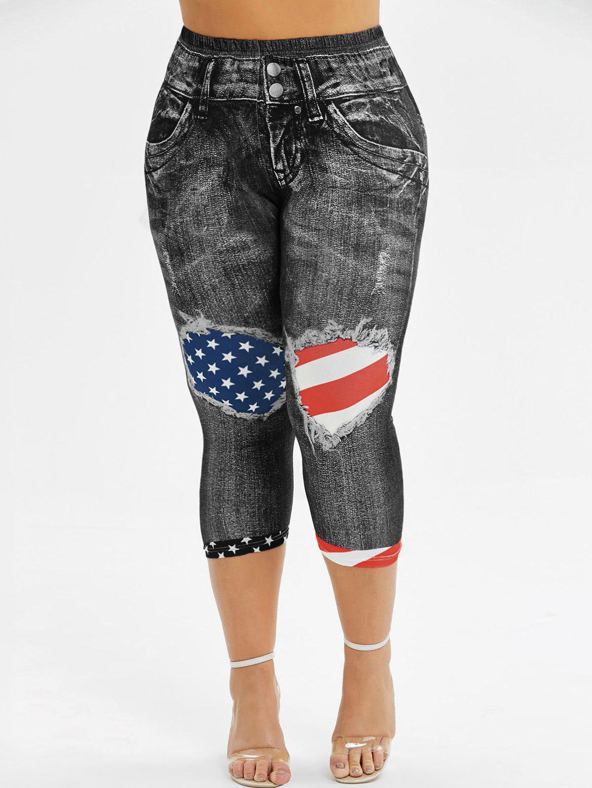 Fancy Skinny American Flag Capri Plus Size Jeggings