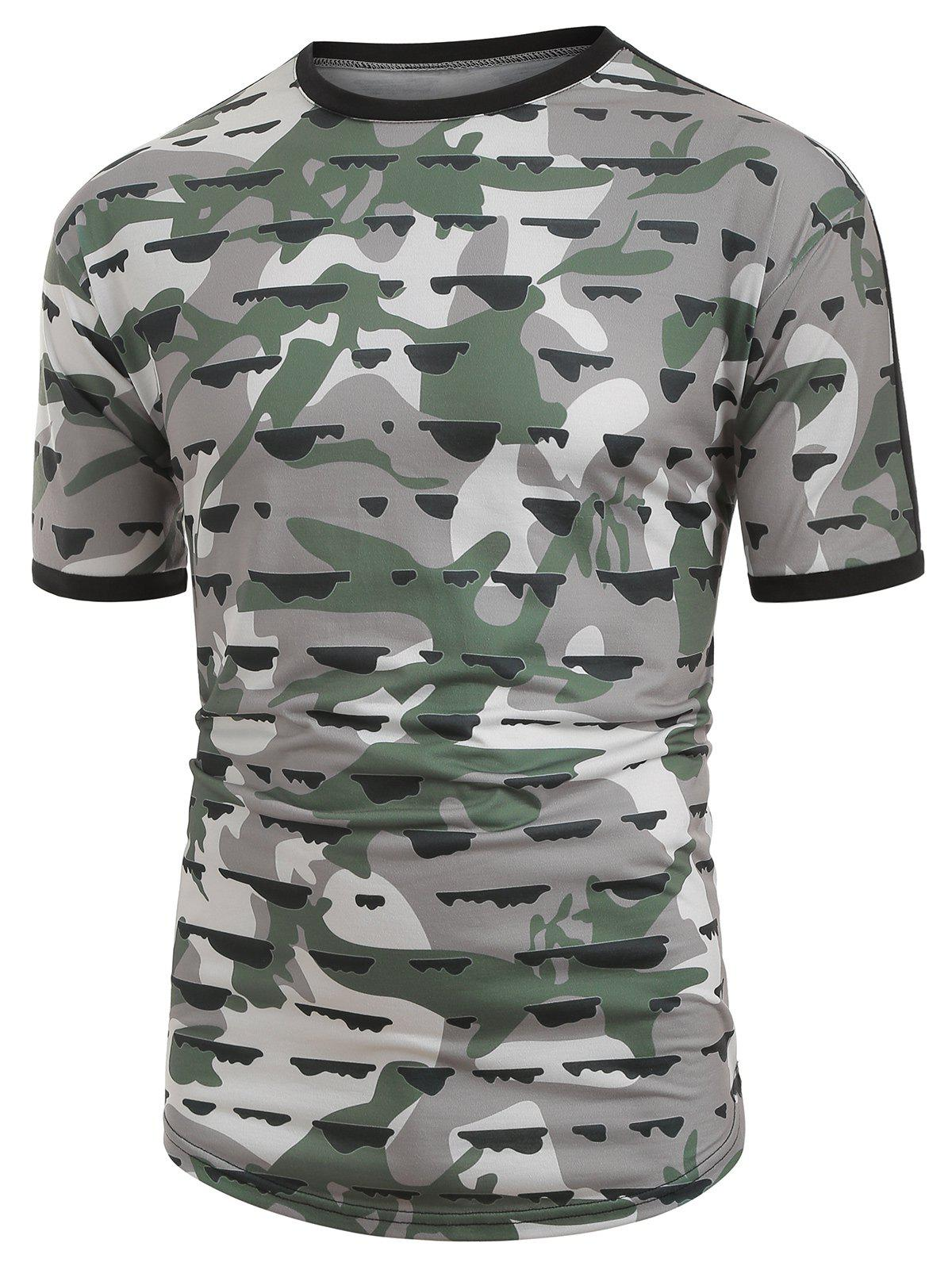 Unique Camouflage Print Spliced Ringer T-shirt