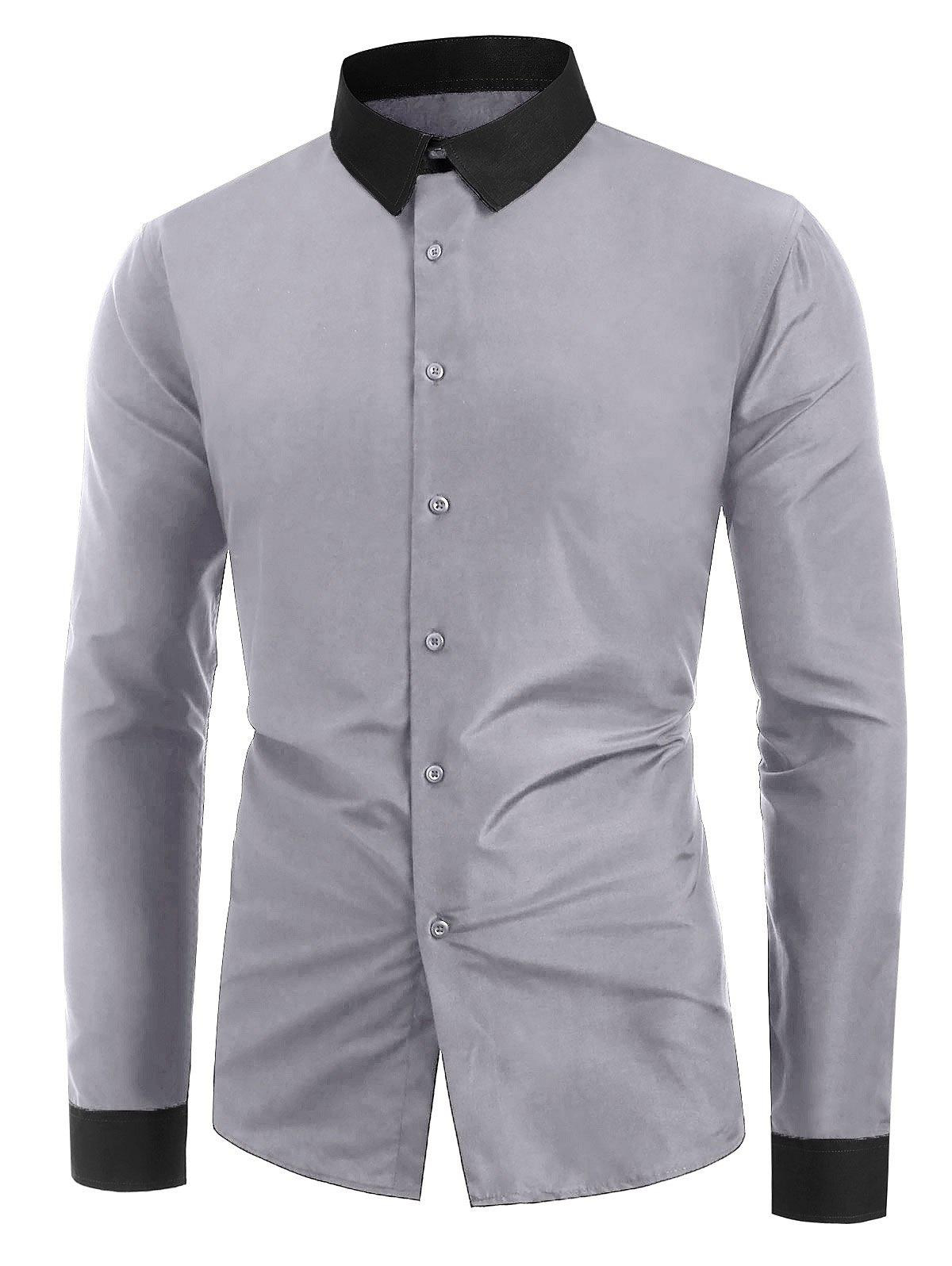 Affordable Button Up Color Spliced Long Sleeves Shirt
