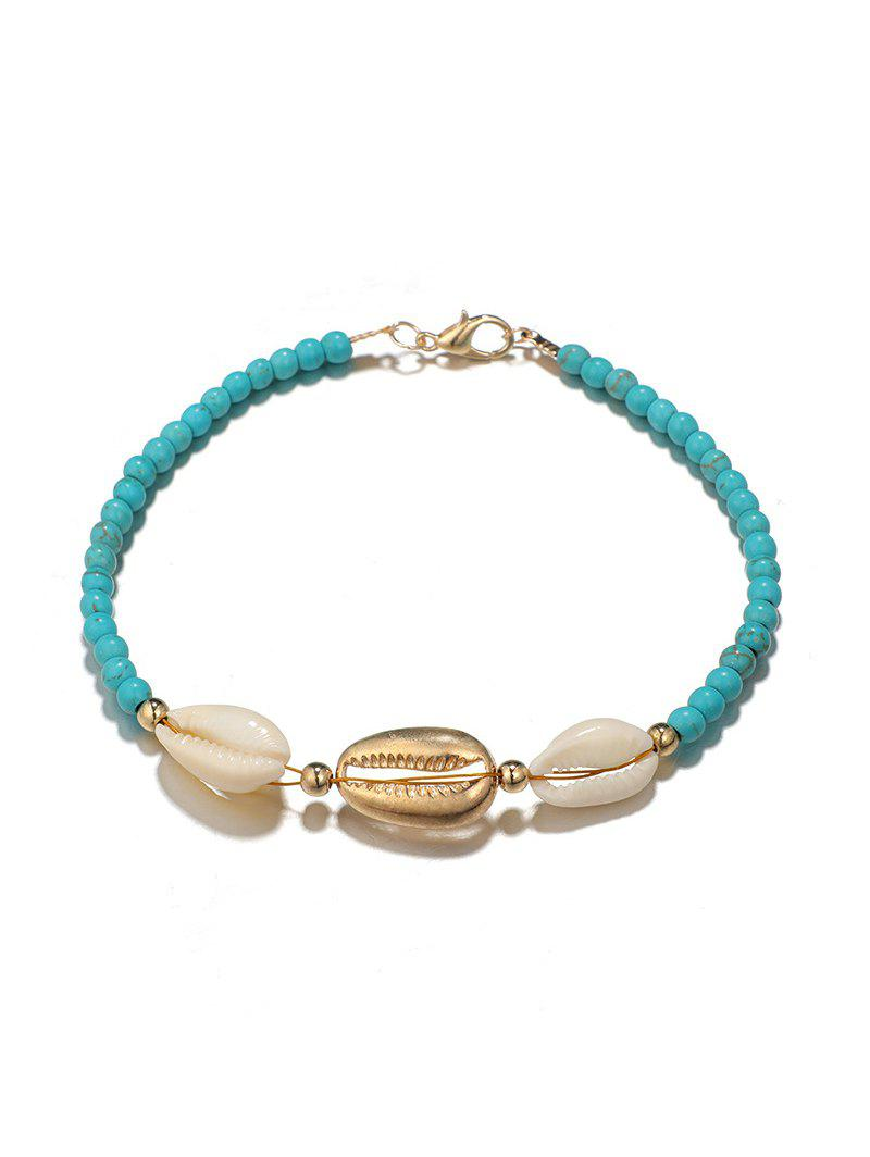 Faux Turquoise Beads Shell Anklet, Blue