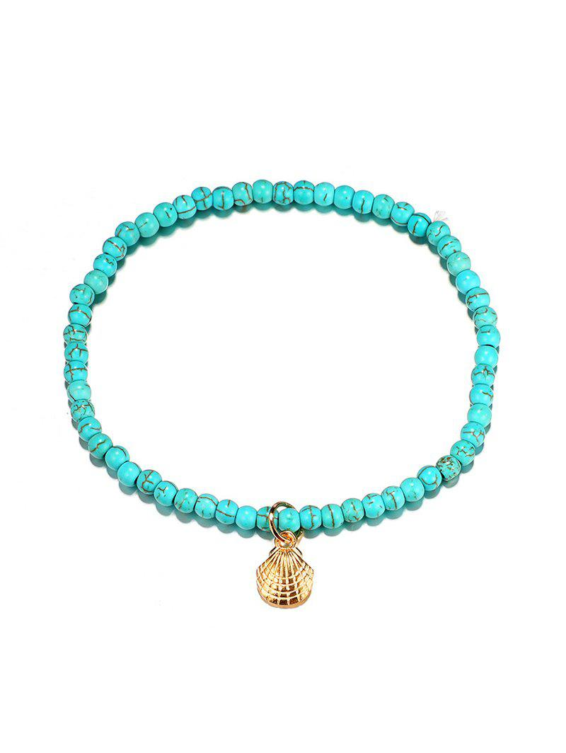 Faux Turquoise Beaded Scallop Anklet, Blue