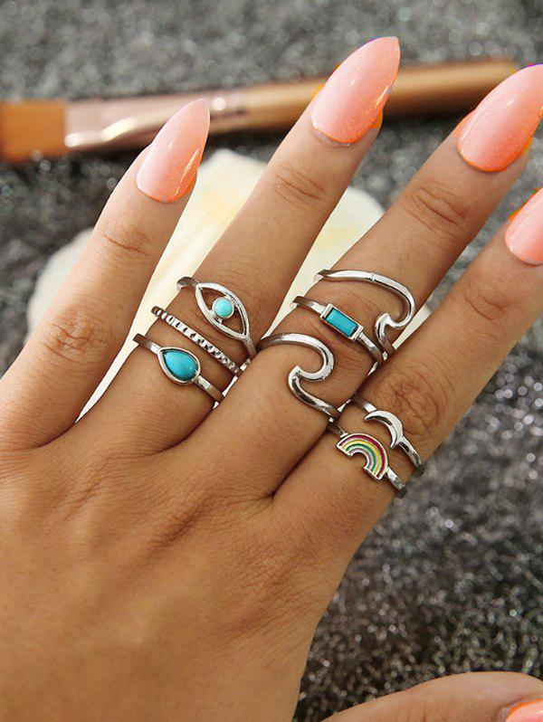 Outfit 8Pcs Moon Rainbow Wave Ring Set