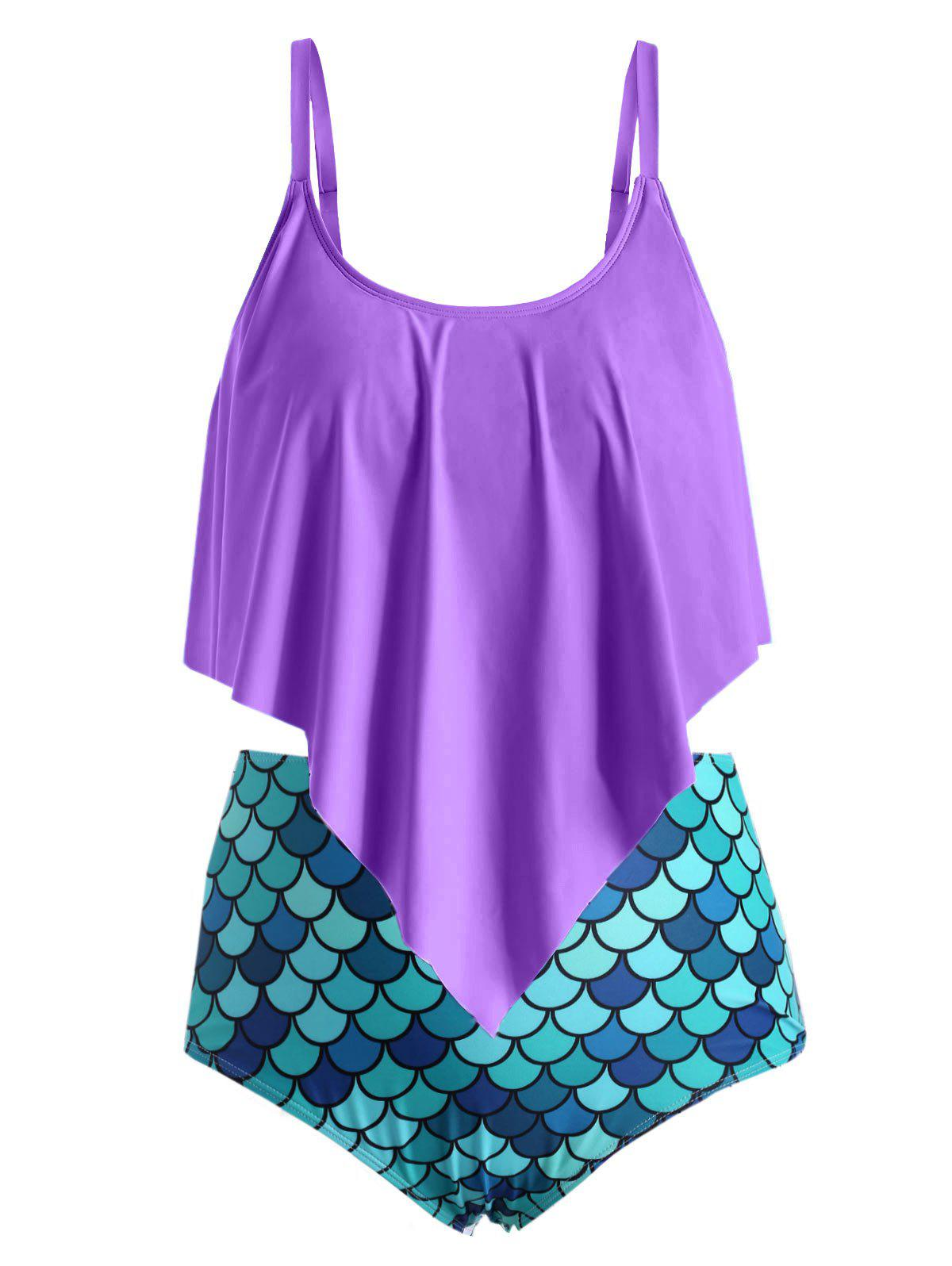 Cheap Plus Size Ruffled Mermaid Tankini Swimwear