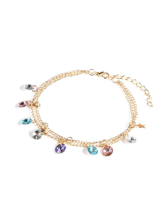 Double Layer Faux Crystal Chain Anklet, Gold