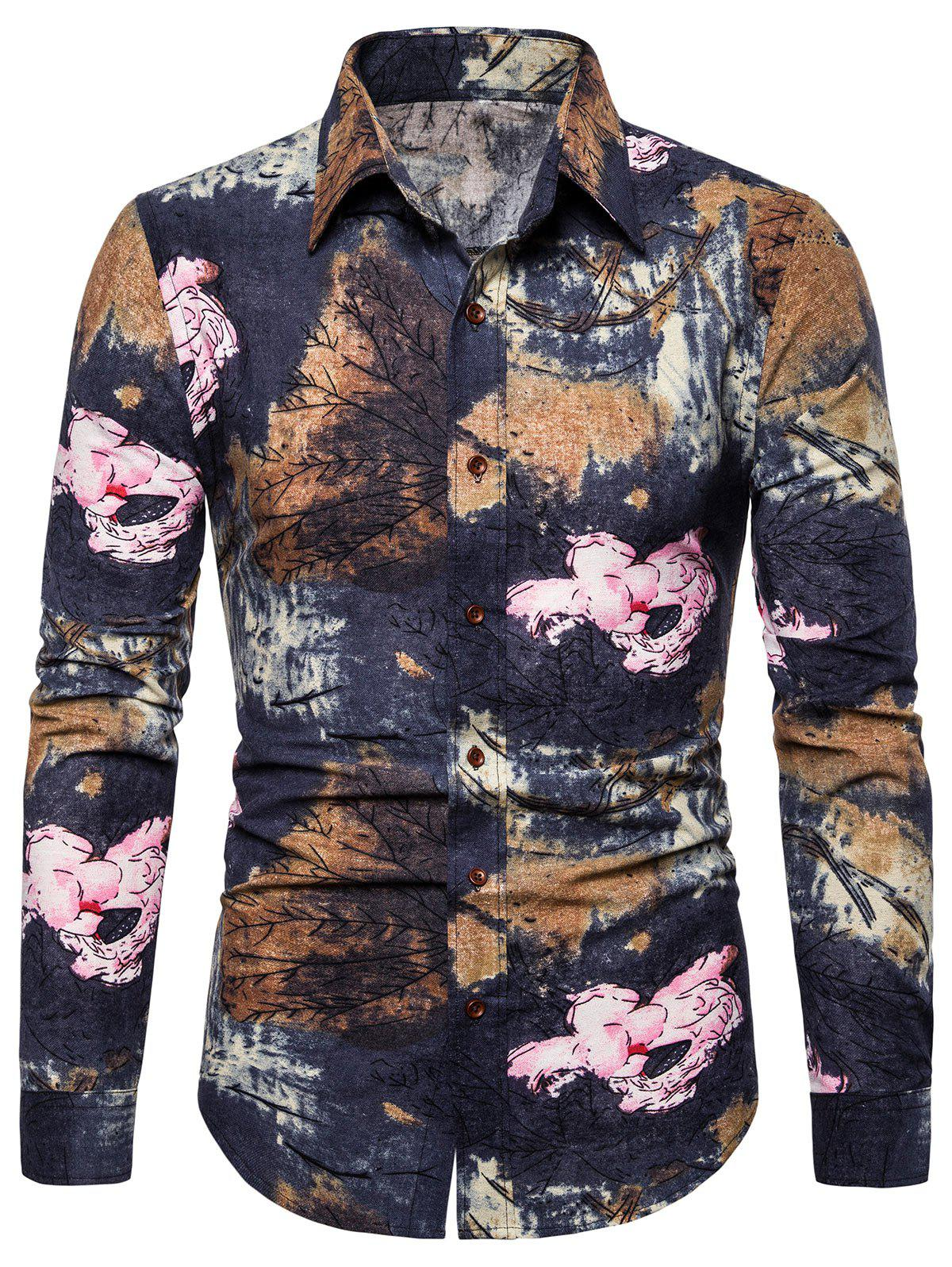 Latest Floral Plant Print Long Sleeves Shirt