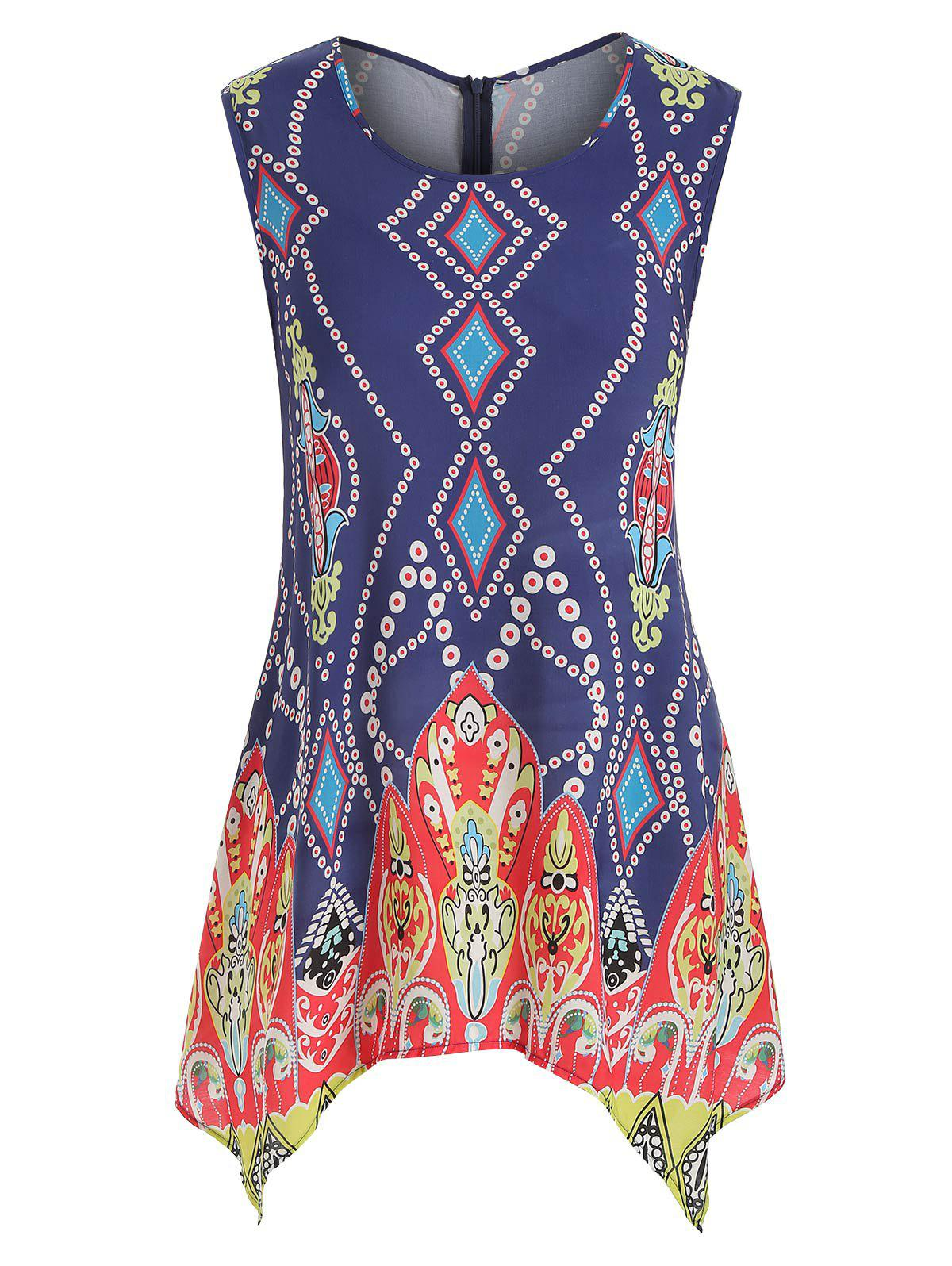 Affordable Plus Size Ethnic Print Swing Tank Top
