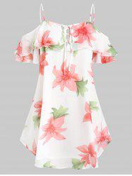 Plus Size  Cold Shoulder Ruffled Floral Chiffon Blouse -
