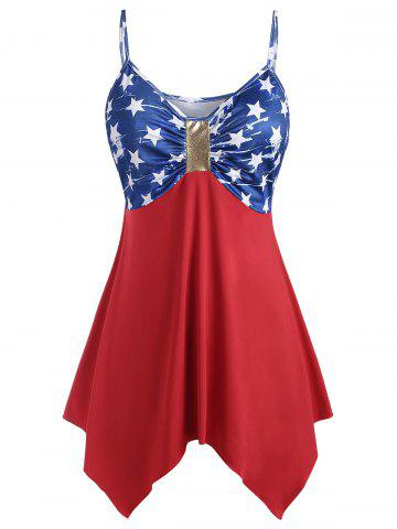 Plus Size Handkerchief Ruched American Flag Cami Top