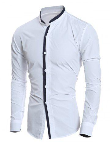 Contrast Color Stand Collar Long Sleeve Shirt