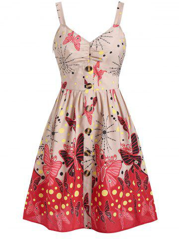 Polka Dot Butterfly Print Casual Mini Dress