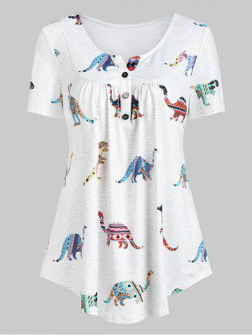Dinosaur Print Half Button Curved Casual Blouse