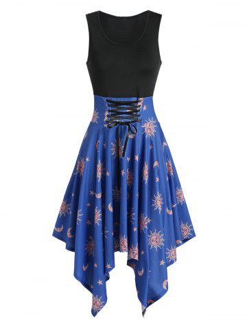 Asymmetric Moon and Sun Print Lace-up Dress