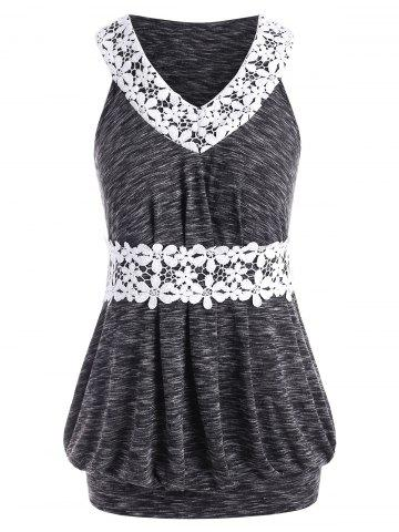 Plus Size Lace Panel Marled Tunic Tank Top