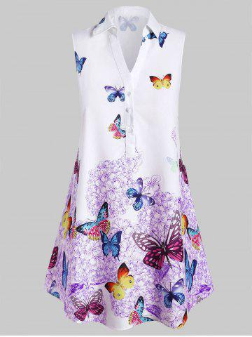 Plus Size Sleeveless Butterfly Print Graphic Blouse - PURPLE - 1X
