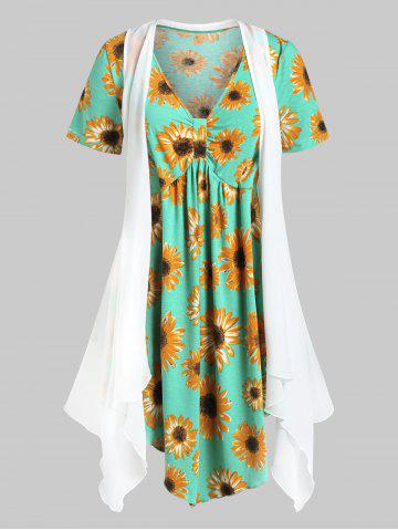 Plus Size Flower Print Tunic T-shirt and Open Cardigan Set