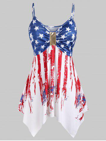 Plus Size Handkerchief Ruched American Flag Cami Top - WHITE - L