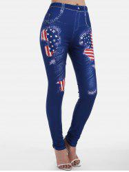 American Flag Printed Skinny Jeggings -