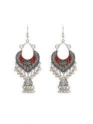 Vintage Engraved Floral Fringed Beads Drop Earrings -