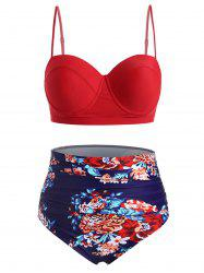 Plus Size Floral Ruched Underwire Bikini Swimsuit -