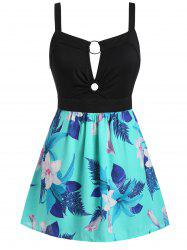 Plus Size Ditsy Print Cut Out Zippered Tank Top -
