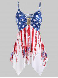 Plus Size Handkerchief Ruched American Flag Cami Top -