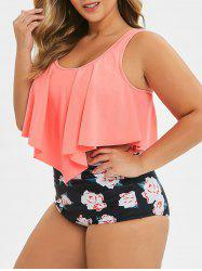 Plus Size Floral Leaf Ruched High Waisted Tankini Swimsuit -