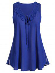 Plus Size Keyhole Tie Lace Panel Tank Top -
