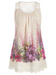 Plus Size Lace Insert Scalloped Floral Print Tank Top -