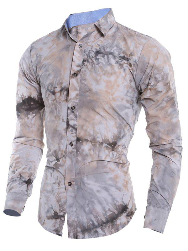 Affordable Color Block Tie Dye Fitted Shirt