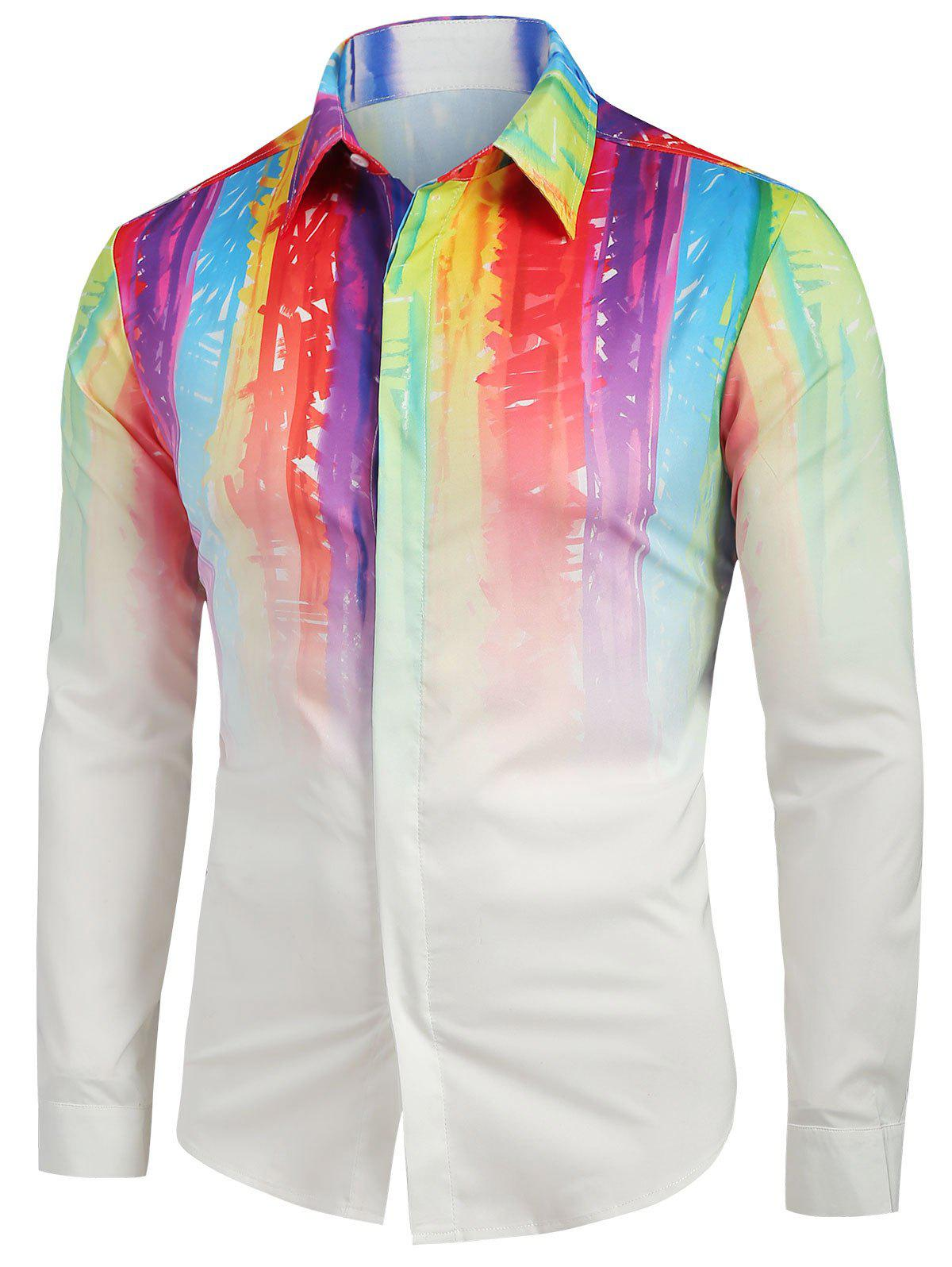Chic Colorful Ombre Print Long Sleeves Shirt