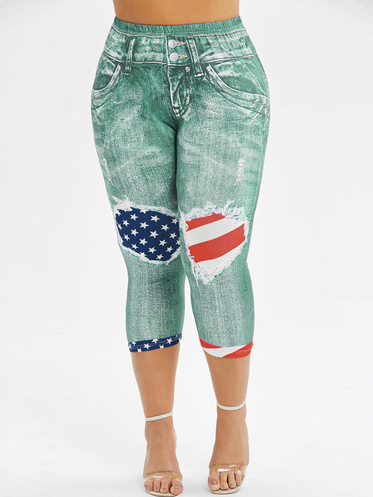 Trendy Skinny American Flag 3D Capri Plus Size Jeggings