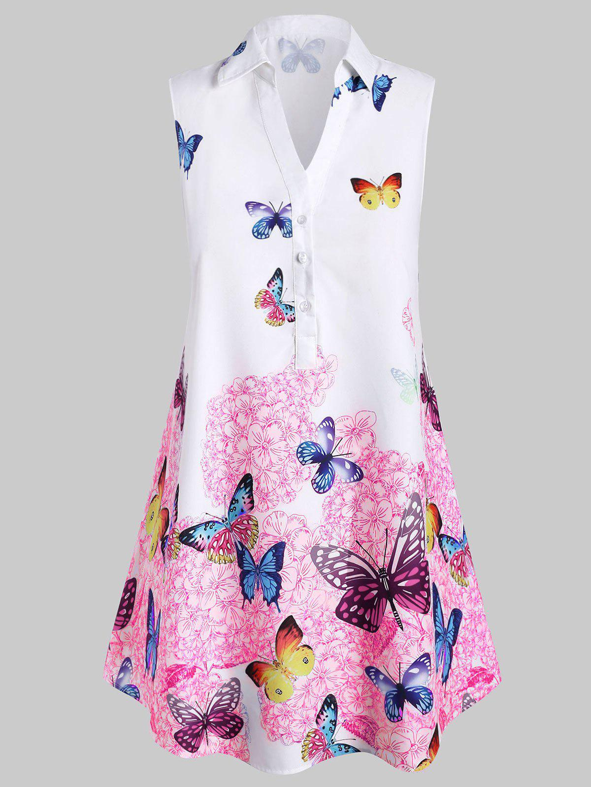 Shops Plus Size Sleeveless Butterfly Print Graphic Blouse
