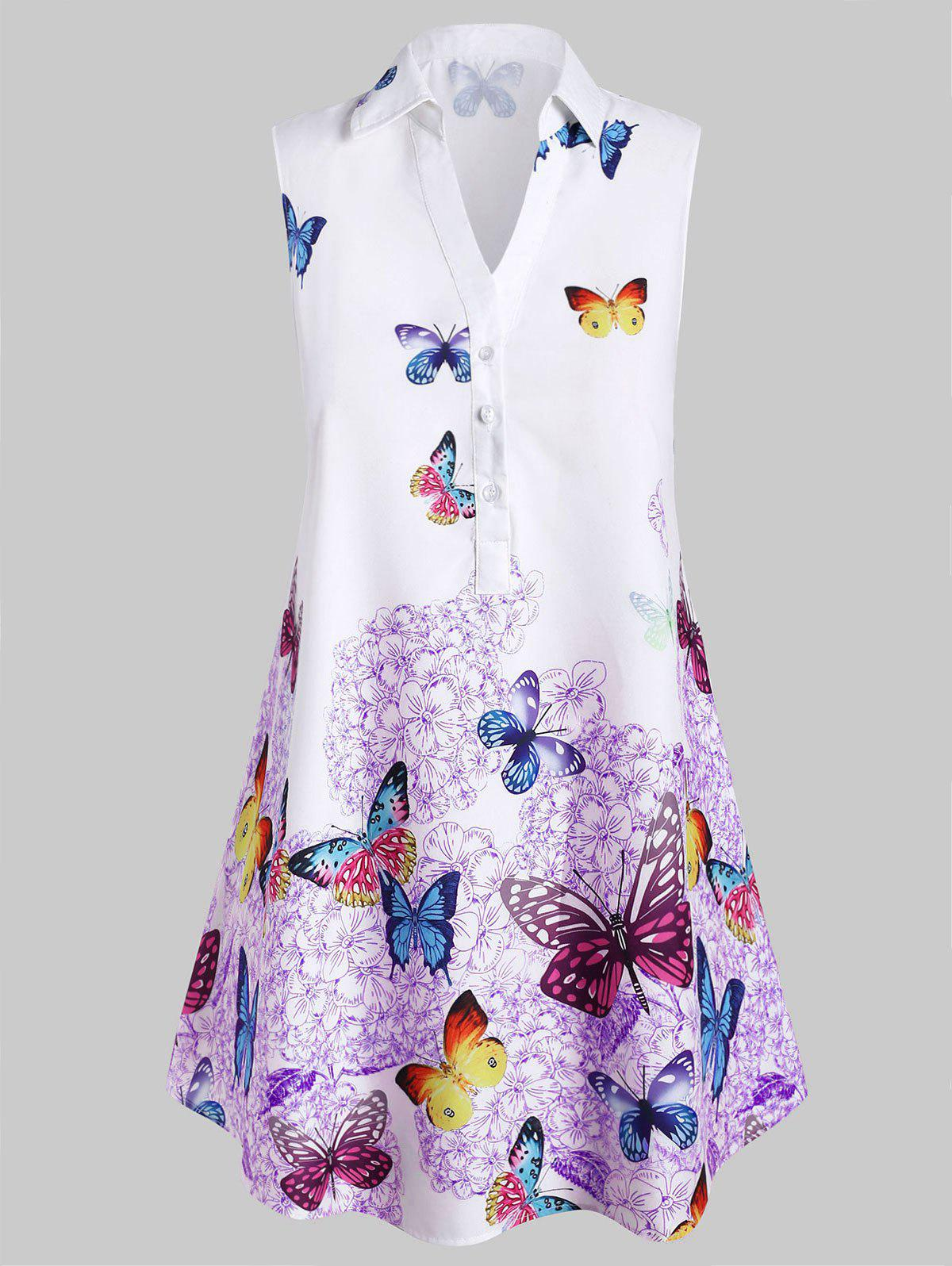 Unique Plus Size Sleeveless Butterfly Print Graphic Blouse